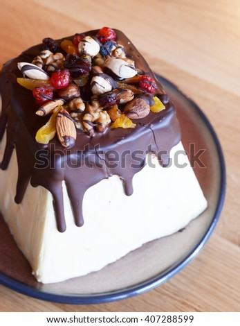 Easter cake with colorful topping - stock photo