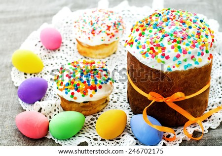 Easter cake with colorful topping on a dark background. tinting. selective focus - stock photo