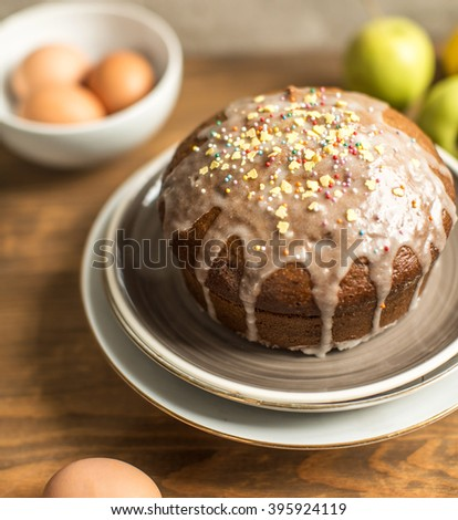 Easter cake with icing and eggs