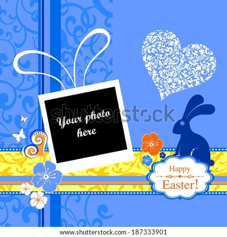 Easter card. Celebration blue background with Easter Rabbit. Elegant Vintage empty Photo frame Background.  Illustration.