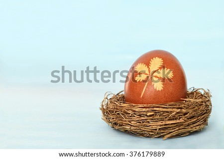 Easter card: Easter egg in the nest, blue background  - stock photo