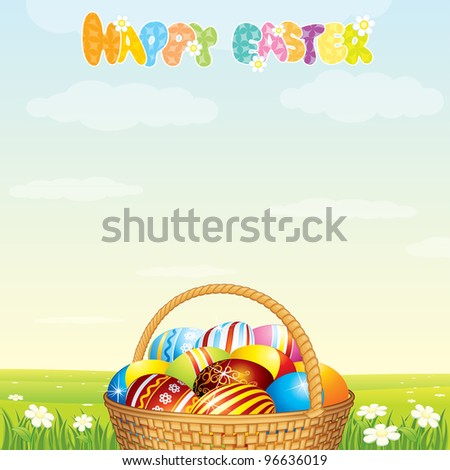 Easter Card Template. Wicker Basket with Colorful Eggs on Spring Meadow - stock photo