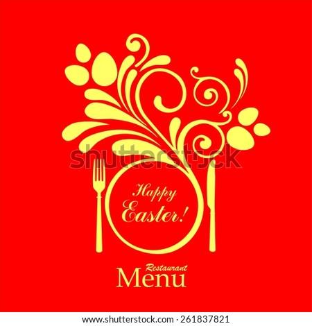 Easter card. Vintage restaurant menu. Design elements.  illustration - stock photo