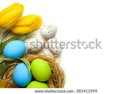 Easter card with colorful eggs in nest and yellow tulips over white background. Top view with copy space - stock photo