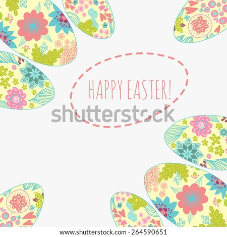 Easter card with doodle ornament eggs set. Copy space. - stock photo