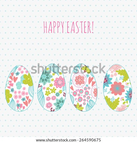 Easter card with doodle ornament eggs set. Copy space. Place for text. - stock photo