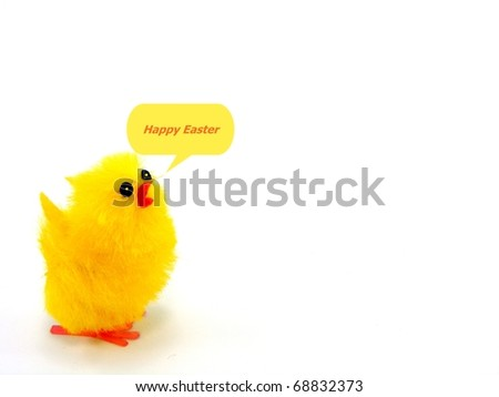 Easter Chick with Easter Greeting - stock photo