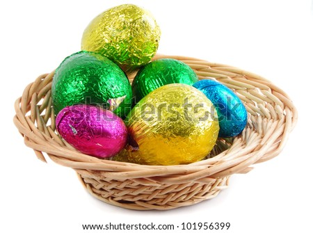 easter chocolate eggs in basket