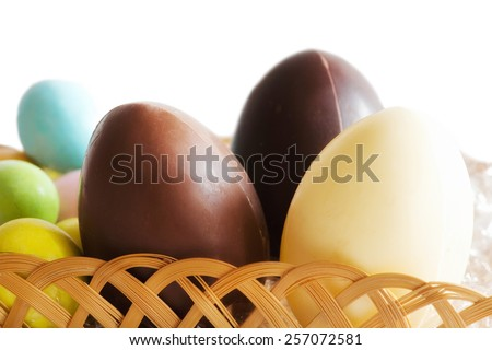 easter chocolate eggs ina  basket - stock photo