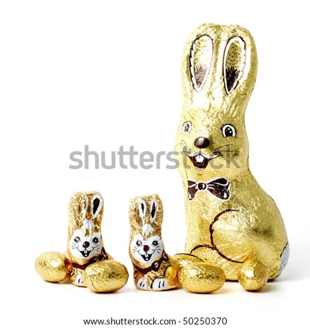 Easter chocolate rabbit - bunny - stock photo