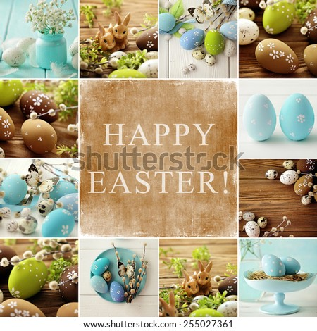 easter collage. colorful easter eggs and branch with flowers - stock photo