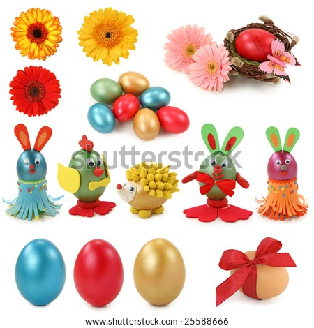 Easter collection isolated on white background - stock photo