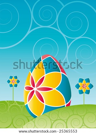Easter - Colorful easter egg with flowers - find eps-version (vector) in my portfolio - stock photo