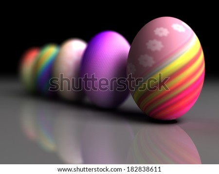 Easter colorful eggs on gray background. 3D render. Copy space