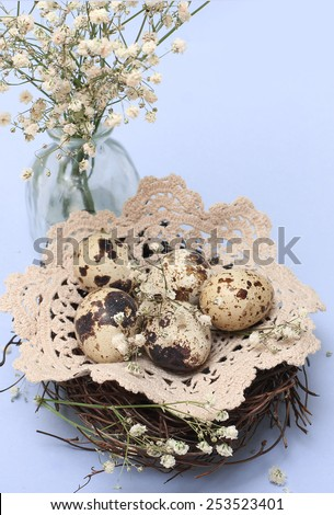 Easter composition of quail eggs - stock photo