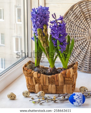 Easter composition on the box with eggs, willow branches and hyacinths in a basket - stock photo