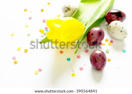 Easter composition with quail eggs and blooming willow, selective focus. - stock photo