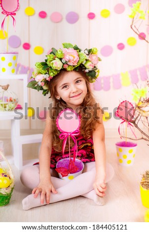 Easter concept. Beautiful girl in the room with Easter decorations. Easter. Easter eggs. smile