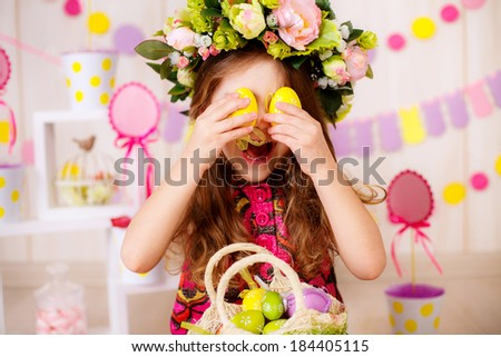 Easter concept. Beautiful girl in the room with Easter decorations. Easter. Easter eggs. smile, game