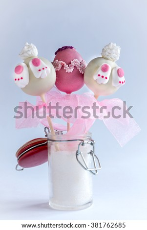 Easter concept cake pops in the jar,selective focus  - stock photo