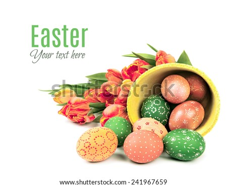Easter corner element with decorative egg and tulips, text space - stock photo
