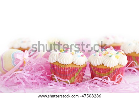 Easter Cupcakes with selective focus, horizontal white background with copy space - stock photo