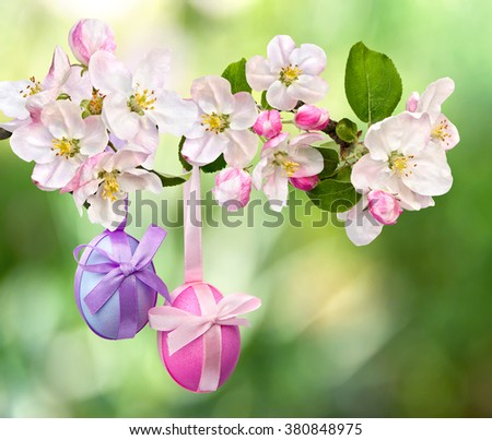 Easter decoration. Apple blossom and Easter eggs on defocused of natural  abstract background of blooming trees - stock photo