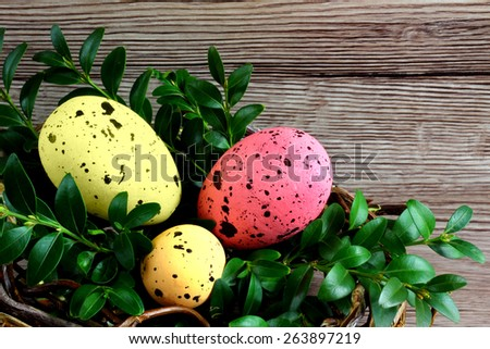 Easter decoration / cards - easter eggs with with boxwood in a nest made from wickers with wooden background - space for text - stock photo