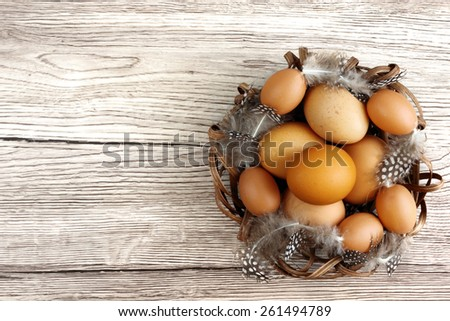 Easter decoration - easter fresh eggs with feathers in wooden nest on wooden desk - table - overhead angle - background with space for text - stock photo