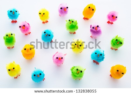 Easter decoration. Little multicolored fluffy chicks. - stock photo