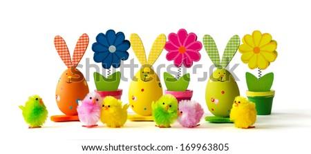 Easter decoration on white background - stock photo
