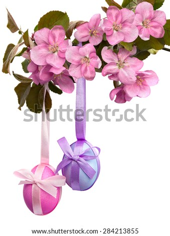 Easter decoration on white background - stock photo