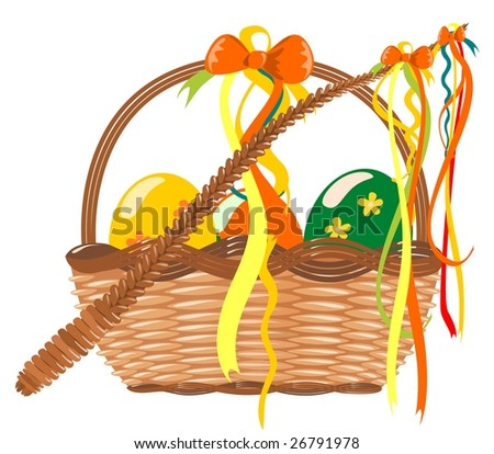 Easter decoration vector into white background - stock photo