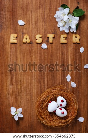 Easter decoration with cookies and eggs