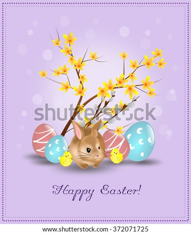 Easter decoration with easter rabbit and easter eggs - stock photo