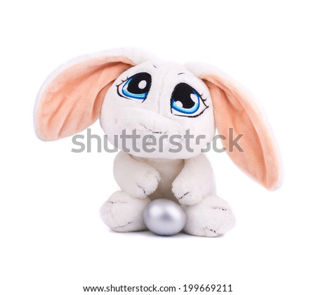 Easter decoration with rabbit and egg isolated on the white background. - stock photo