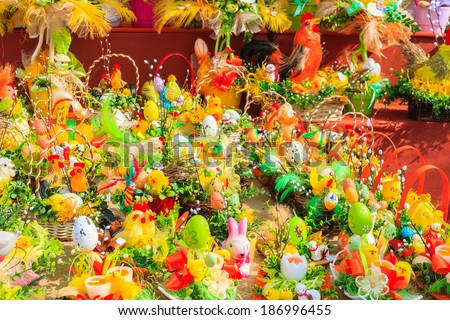Easter decorations made of eggs and flowers and on market stands in Krakow town, Poland