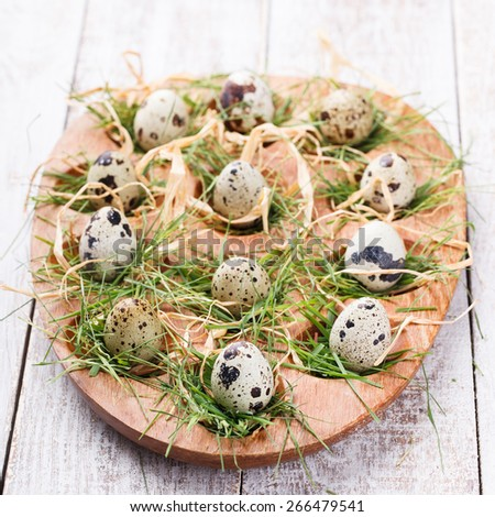 Easter decorations. Quail eggs in the nest and the grass on a wooden stand. - stock photo