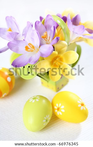 Easter detail with Easter eggs or spring motive - stock photo