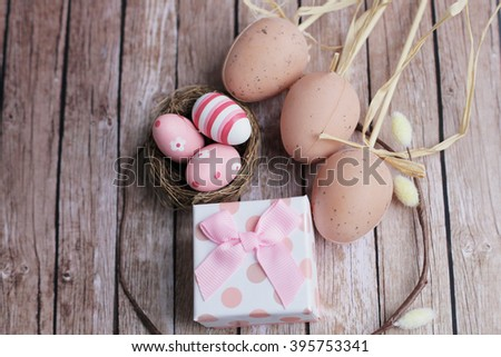 Easter. Easter nest. Easter eggs. wooden background, Shabby Easter. rustic Easter. Easter present.  - stock photo