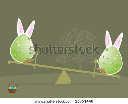 Easter egg characters with bunny ears 2 - jpg version - stock photo