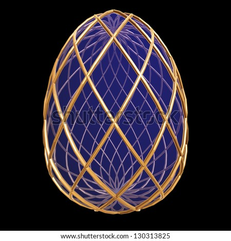 Easter egg decorated with golden net, isolated on black - stock photo