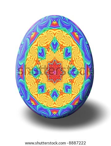 Easter egg decorated with kaleidoscope in springtime colors.