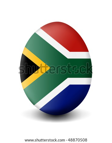 Easter egg flag south africa with clipping path