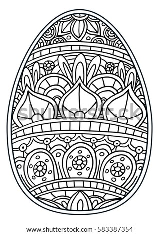 Easter Egg Coloring Page Stock Illustration 583387354 Shutterstock