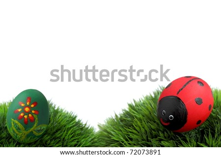 Easter egg,  hand painted beautiful and colorful eggs on fresh grass and white background - stock photo
