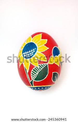 Easter egg handmade on a white background. - stock photo