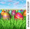 Easter egg hunt and hunting for easter eggs as a game children play after the bunny hides decorated painted eggs in the grass as a spring holiday with many painted ovals hiding in the landscape. - stock vector