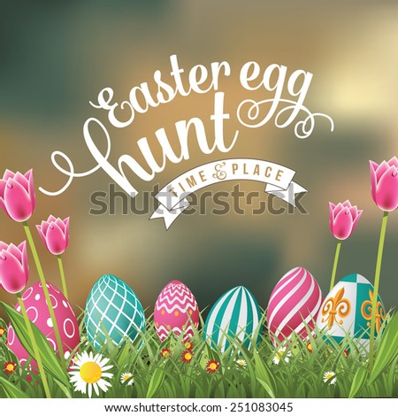 Easter egg hunt in the grass with blurry sky design royalty free stock illustration for greeting card, ad, promotion, poster, flier, blog, article - stock photo