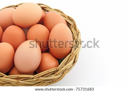 Easter egg in a basket isolated on a white background - stock photo